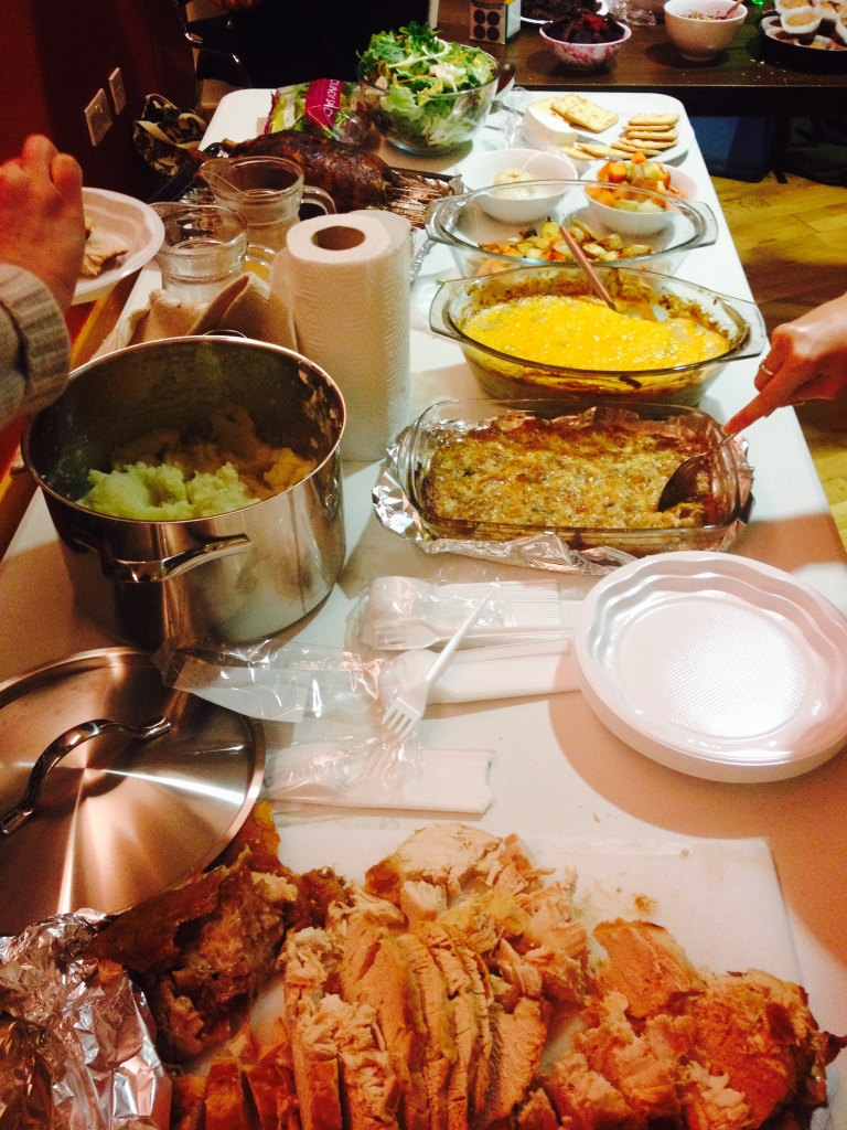 Pictured is delicious food from Thanks-Mas, an event that combined Thanksgiving and Christmas Holidays for friends from all over.