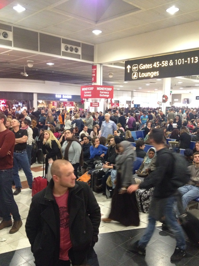 Stranded Passengers at Gatwick Airport