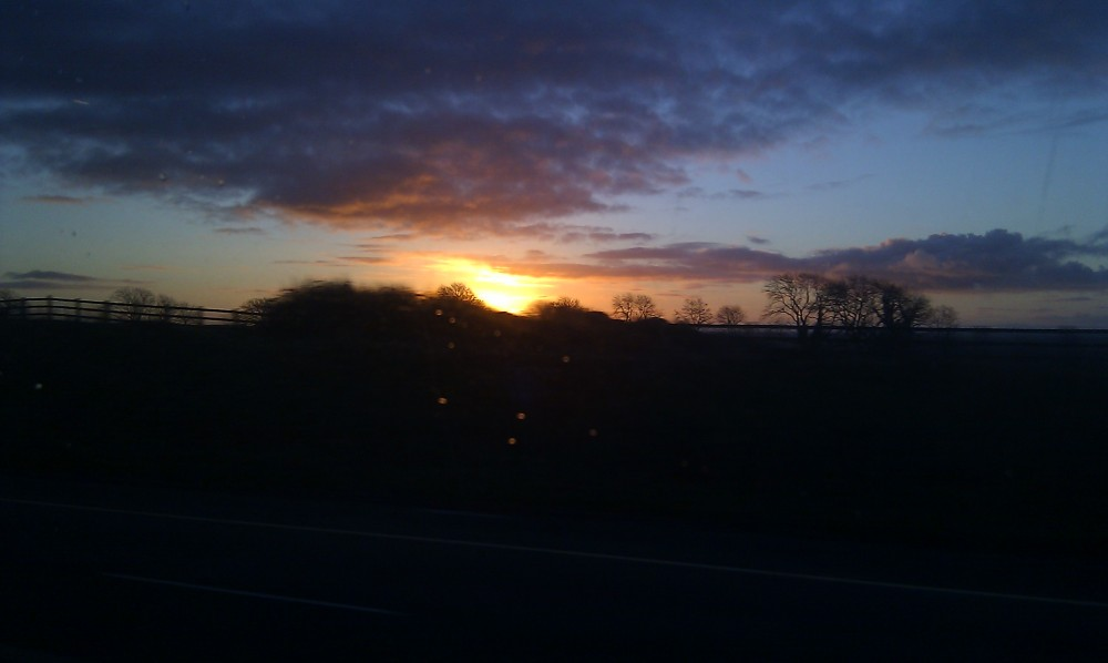Sunrise from the bus