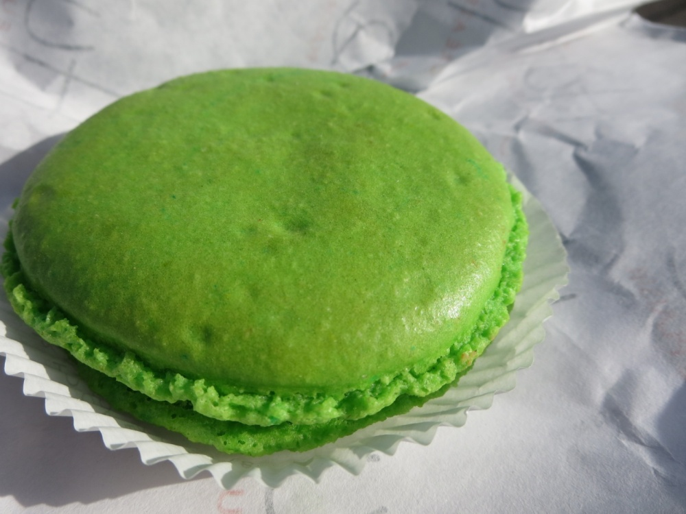 My first macaroon. It was pistachio! Well worth the wait!