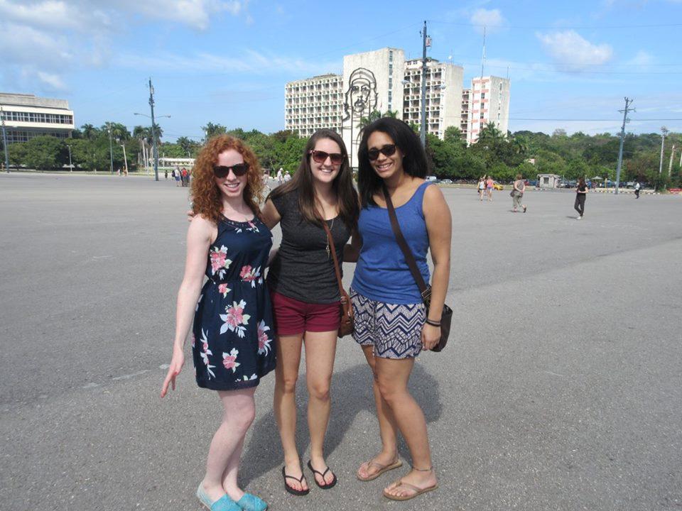 Me (middle) pictured in Revolution Square in Havana