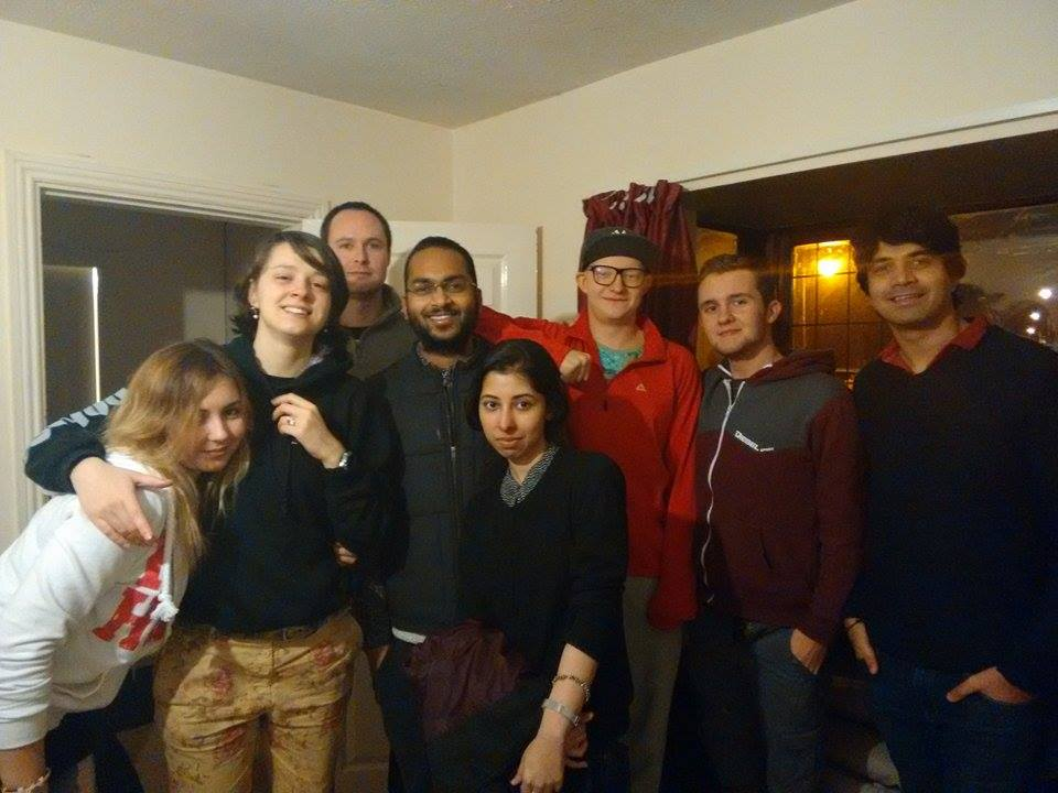 With my housemates where everyone shares common kitchen and living room in 7 bedroom apartment.Karina,Paul,Kamil,Mat,Bart,Daria and Payal